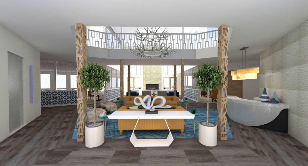 Sopris Lodge Interior Common space rendering